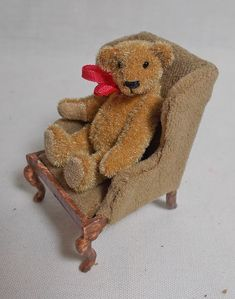 Dollhouse Miniature Antique Style Bear in aged velvet seat. Dollhouse Miniatures, Teddy Bear, Velvet, Antiques, Toys, Animals, Ebay, Style, Antiquities