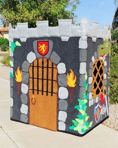 "Knight's Castle Playhouse (35""x45""x48"" Made to Order - Fabric Playhouse Fits PVC Frame You Make)"