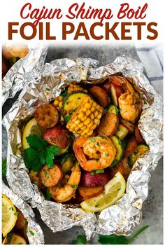 Easy Cajun Shrimp Boil Foil Packets with sausage. Can be made in the oven or on the grill! Perfect recipe for fast, healthy dinners. #cajun #shrimpboil #shrimp #foilpack #foilpackets #seafood  via @wellplated