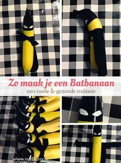 Op zoek naar een gezonde en coole Batman traktatie? Deze Batbanaan is het allebei! #batman #traktatie #banaan #gezond #cool