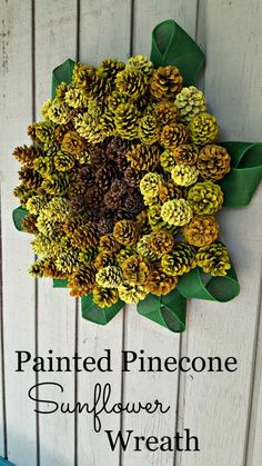 Painted Pinecone Sunflower Wreath | Modern on Monticello - Featured on #HomeMattersParty 105