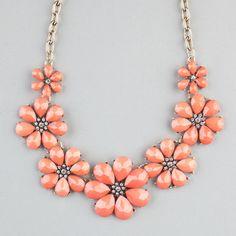 Full Tilt Facet Flower Statement Necklace Coral One Size For Women 22842531301
