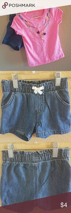 """Carter's Top and Circo Shorts Size 2T Adorable and Perfect for Summer! Pink Carter's Top with adorable """"necklace"""" iron on accent. Circo pull on shorts with Elastic Waistband for a Comfy Fit. Excellent condition Carter's Matching Sets"""