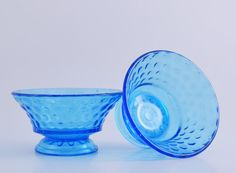 Blue Bubble depression glass sherbet dish by OSGVintage on Etsy