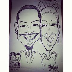 Bride and Groom Caricatures from our caricature artists at our wedding drawing favors
