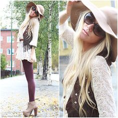 Clock Ring, H&M Slouch Hat, Ester Elenora Lace And Tassle Tunic, Fringe Vest, Jeffrey Campbell Lita Shoes, H&M Wine Red Tights, Bracelet, Studded Ring - WESTERN GIRLS, EVERY COWBOY'S DREAM - Anna Wiklund