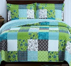Country Cottage Patchwork Blue Green Quilt Coverlet Set - Colorful reversible bedding for 2 look in 1 #lime bedding #patchwork bedding