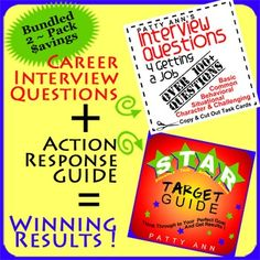 $AVE with this AWESOME 2 Pack Bundle for preparing for a job interview. Included: (1) Interview Questions 4 Getting a Job~ > Includes way over 100+ Questions > Questions are set up as task cards to copy and cutout > Variety of questions Include: *Common; * Behavioral; *Situational; *Character; *Challenging > A must have for interview preparation! (2) STAR Target GUIDE is a Guided Lesson Plan. STAR is an acronym that stands for *Situation * Task * Action * Result. The STAR Target GUIDE…