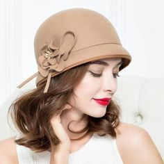 d4f3ff6fbad Ladies wool bucket hat for winter fashion flower dome felt hats