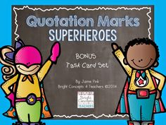 Quotation marks task cards - handy tool to use in small groups, whole groups, intervention, centers and more. Primary Powers: Jaime {Bright Concepts 4 Teachers}