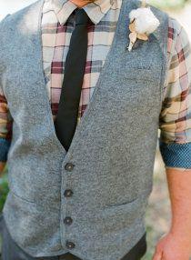 Northern California Backyard Wedding: plaid groomsmen attire, gray vest, cotton boutonniere www.joyfulwedding...