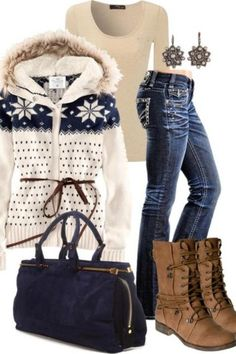 Winter fashion, love the sweater but not crazy about the boots
