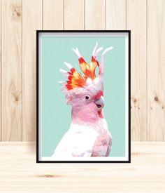 Galah Wall Art, Australian Parrot Prints, Major Mitchell Cockatoo, Pink Parrot, Galah Printables, Parrot Art, Parrot Instant Download, Cocky