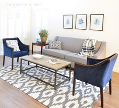 living room: navy + gray I need to reupholster my Mid century chairs in Blue