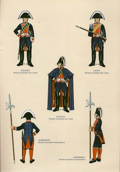 Reales Guardias du Corps, Green indicated the Italian company which was absorbed into the other 3 companies in & Reales Guarias Albarderos, 1808 Empire, 3 Company, Royal Guard, Army Uniform, Armada, Spain And Portugal, Napoleonic Wars, Military History, Spanish