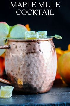 This Maple Moscow Mule is a perfect fall treat! Maple syrup combines with tangy lime juice, whiskey and ginger beer! A tasty fall treat! #cocktails #maplesyrup #whiskey