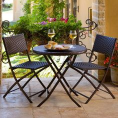 RST Outdoor All-Weather Woven Wicker Bistro Set - Outdoor Bistro Sets at Hayneedle