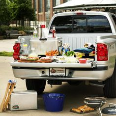 How about a literal tail-gate? Open the truck trunk for a great party location! More party ideas: http://www.bhg.com/party/birthday/themes/tailgating-ideas-and-recipes/?socsrc=bhgpin100513taligatingparty&page=1