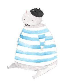 FAT CAT illustration | Etsy