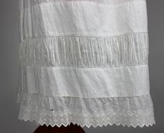 Antique White Cotton Petticoat Underskirt with Gathers and Embroidered Trim | www.SarahElizabethGallery.com
