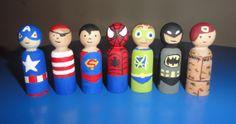 Super Hero Wooden Peg Dolls by ColleensCrafts4U on Etsy, $35.00
