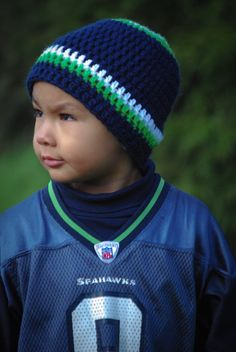 This is a much better picture of the Seahawks hat I crocheted.  This is slightly altered from the football beanie designed by April Clemmons.  The pattern can be bought through Ravelry.com for $1.50 here: http://www.ravelry.com/patterns/library/football-beanie