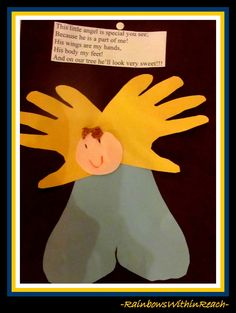 Angel Craft from Hand prints and foot prints with poem via RainbowsWithinReach