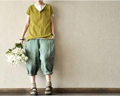 Fashion Green Pocket Loose Leisure Cotton Women Large Size Girl Linen Pants Casual Clothes Soft Linen--Trousers--Women Clothing on Etsy, $53.00
