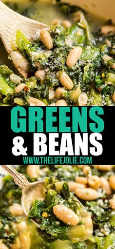 Greens and Beans is a classic Italian recipe that's as delicious and healthy as it is comforting. You'll want to make this easy regional specialty again and again! Bean Recipes, Side Dish Recipes, Vegetable Recipes, Vegetarian Recipes, Cooking Recipes, Healthy Recipes, Healthy Beans, Chili Recipes, Delicious Recipes