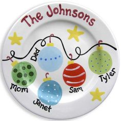 Christmas Family Plate - Personalized Ceramic Plate - Hand Painted - Grandparent Plate ((I could make this--easy peasy!  sc 1 st  Pinterest & Personalised Dear Santa Treat Plates - The Supermums Crafu2026 | Kids ...