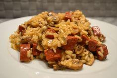 Lekker: risotto met chorizo en kastanjechampignons