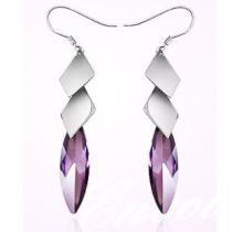 Rarelove sterling silver earrings, Austria silver purple crystal drops and collars pendant