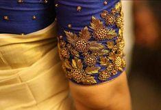 How to make zardosi blouse border - ArtsyCraftsyDad Wedding Saree Blouse Designs, Silk Saree Blouse Designs, Stylish Blouse Design, Fancy Blouse Designs, Dress Designs, Saree Wedding, Zardosi Work Blouse, Sleeve Designs, Sarees
