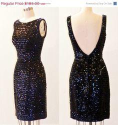 SALE+Vintage+1960s+Sequin+Party+Dress+Black+by+daisyandstella,+$157.25