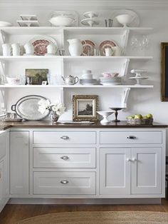 Try this bright idea: use open shelves to grant easy access to vintage china on display.