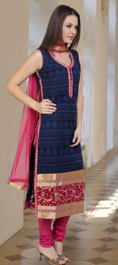 451682: Blue color family stitched Party Wear Salwar Kameez .
