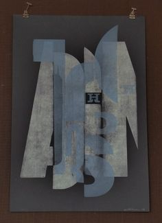 """HAMILTON WOOD TYPE, """"Broken type is reincarnated as a letterform collage in metallic silver and blue. Prominently featuring the Hamilton Logo this poster measures 15"""" x 22"""". """""""