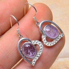 Amethyst Gemstone Dangle Earrings in Sterling by scentsgemsnmore