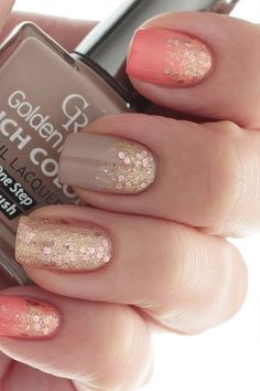Coral, taupe and gold glitter nails. Discover and share your fashion ideas on https://misspool.com | Repinned by @emilyslutsky