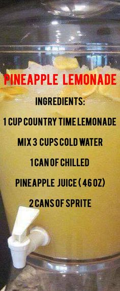 Pineapple Lemonade This punch is delicious! Ingredients: 1 Cup Countrytime Lemonade Mix 3 Cups Cold water 1 Can of chilled pineapple juice Fruit Drinks, Smoothie Drinks, Non Alcoholic Drinks, Party Drinks, Cocktail Drinks, Healthy Drinks, Smoothies, Drinks Alcohol, Healthy Lemonade