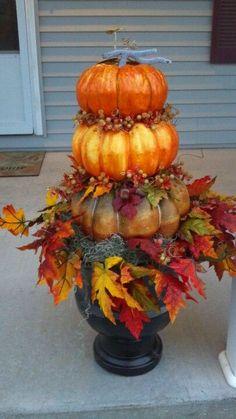 Autumn Decorating, Porch Decorating, Decorating Ideas, Pumpkin Decorating, Pumpkin Topiary, Fall Planters, Halloween Porch, Halloween Pillows, Fall Halloween