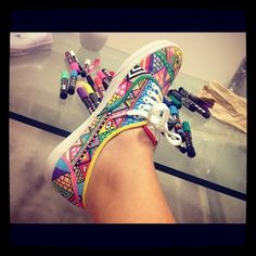Canvas shoes, customizes with sharpie. I love the colours in this one!