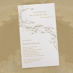 This gold shimmer invitation card features a unique gold on gold vine design swirling between your verse at the bottom left and a verse at the top right. Vow Renewal Invitations, Anniversary Invitations, Anniversary Parties, 50th Anniversary, Vine Design, Craft Wedding, Wedding Stationery, Vows, Invitation Cards