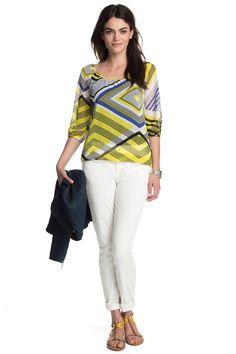 Gestreepte chiffon-blouse COLLECTION - Esprit Online-Shop