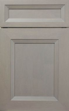 Whitney Recessed door style by #WoodMode, shown in Designer Opaque Putty finish on maple.