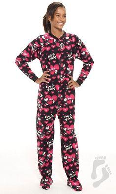 Hearts n Skulls - Kids Footed Pajamas | Kids Pajamas | One Piece