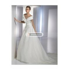 This dress is so beautiful. The price is also right! Grand White Stretch Satin Off-the-shoulder Wedding Gown with Pleats and Beadings
