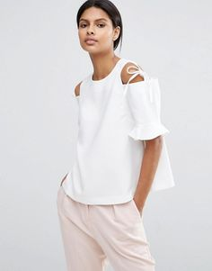 ASOS | ASOS Clean Crepe Cold Shoulder Top with Tie & Ruffle Sleeve
