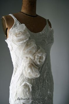 SALE Nuno felt wedding dress w/ white silk roses and door Feltunik