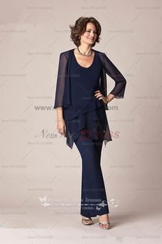 2017 New Arrival Jewel Dark Blue Cystal Chiffon Custom Made Mother Of The Bride Pant Suits Evening Dress
